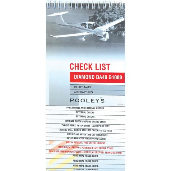 Чек-лист авиационный Pooleys Diamond DA40 G1000 Checklist